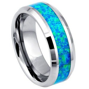 8mm Blue Opal Tungsten Ring Wedding Band